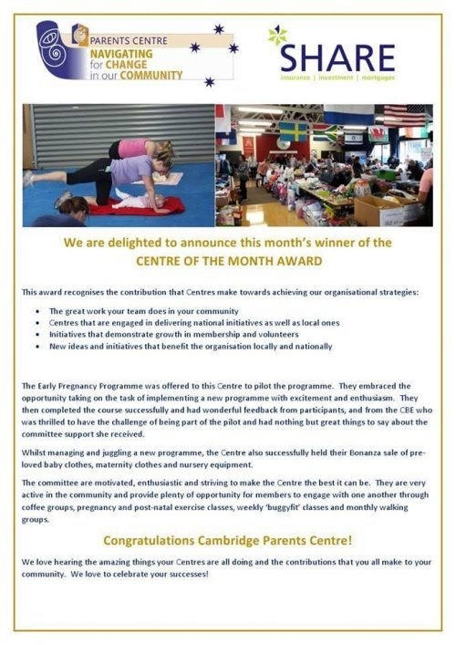 SHARE adviser Hayley Kerr is delighted to award Cambridge Parents Centre with Centre of the Month for June! Congratulations Cambridge Parents Centre!